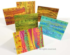 "Set of six ""Double Helix"" notecards"